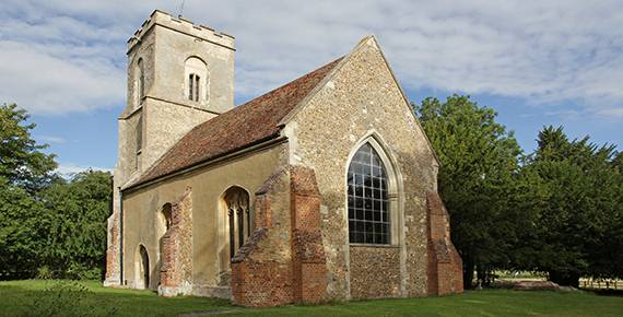 Hatley St George church, Cambridgeshire, 8 August 2015. Regular services are held every second and fourth Sunday of the month.