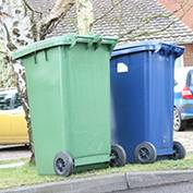 Our green and blue wheelie bins. South Cambridgeshire District Council normally empties our bins on a Wednesday.