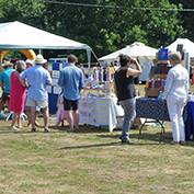A general view of the 2018 Hatley Fête held on 1st July 2018 on the playing field in Hatley St George, Cambridgeshire.