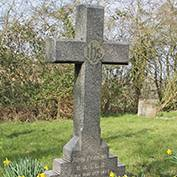 John Perkins' grave in St Denis' churchyard, East Hatley, Cambridgeshire on 14th March 2016. The daffodils were planted in his memory – his sister Martha is in the next grave.