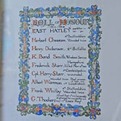 WWI Roll of Honour to the fallen of East Hatley in Hatley St George church, Cambridgeshire.