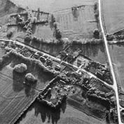 Aerial view of East Hatley - late 1970s and described as 'a decayed village'.