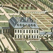 The 1707 engraving of Hatley Park from Kip's Britannia Illustrara. Hatley Park is in Hatley St George, Cambridgeshire.