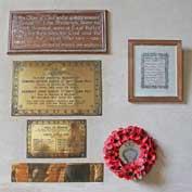 War memorials in Hatley St George church, Hatley St George, Cambridgeshire / 13th September 2018.