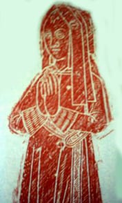 Brass rubbing of Catherine Docwra. The brass was formerly in St Denis' church, East Hatley and moved to Hatley St George after St Denis' was closed in 1986.