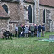 St Denis' church East Hatley, Cambridgeshire – after the Taizé service on 7th September 2011, everyone gathered outside for a glass of wine. It the first service to be held in St Denis, East Hatley, since the church was closed in 1959.