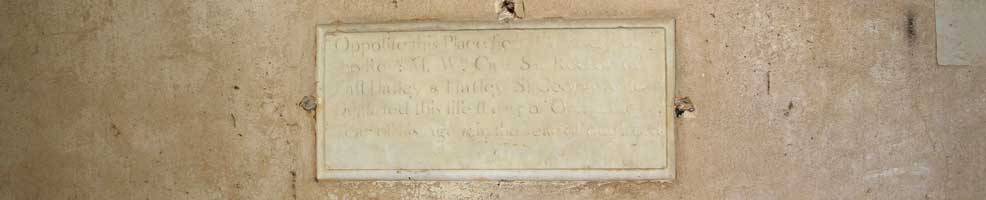 St Denis' church East Hatley, Cambridgeshire – the William Cray Say (1696-1751) tablet in the west wall. He was rector of St Denis' and Hatley St George church for 29 years. It is one of only two memorials still in the church.