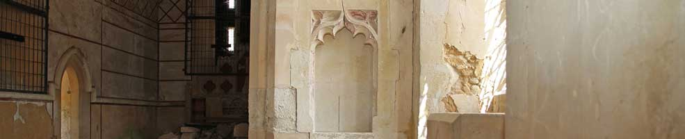 St Denis' church East Hatley, Cambridgeshire – 14th century niche, south side – 23-7-18.