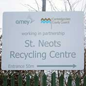 St Neots recycling centre direction sign.
