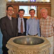 Revd Steve Rothwell, Laurance Drake, William Drake and John Boocock – Hatley St George church after the 'new' bell was first rung, April 2014.