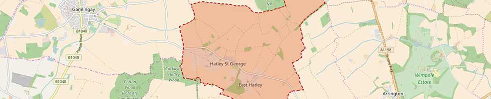 The modern day (2017) civil parish boundary of Hatley, Cambridgeshire.
