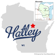 Map of Hatley, Wisconsin, USA.