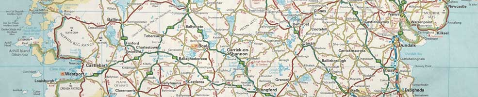 Map of Ireland – centered on Carrick on Shannon, County Leitrim.