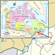 Map of Canada showing the location and area of North Hatley, Quebec.