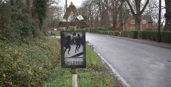 One of the 'Children' signs in Hatley St George, Cambridgeshire – it was stolen on 6th January 2019 and we'd like it back please.