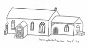 Revd William Cole's sketch of St Denis' church, East Hatley. It is dated 18th August 1748 – William Butterfield rebuilt (rather than added) the porch and chancel but would appear to have added the bellcote on the west end – and moved the Downing plaque from outside to inside the porch.