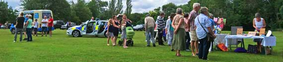 Hatley Village Fete, 21st July 2019 – an ice cream van, police car, craft stalls, children's games, bouncy castle and an interesting display of classic cars kept everyone amused.