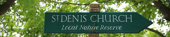 St Denis' church East Hatley, Cambridgeshire – nature reserve sign + new post.