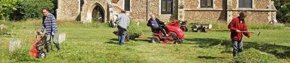 St Denis' church East Hatley, Cambridgeshire – team Hatley tidying up the churchyard – 19-7-15.