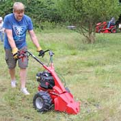 Hero of the day was Steve Greenhalgh, who quickly mastered the complexities and vibrating nature of our scissor mower at the St Denis' church East Hatley, Cambridgeshire, churchyard tidy-up on 4th August 2019.