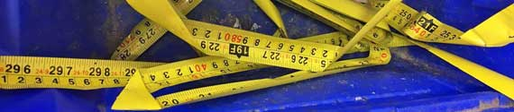 Found in a blue wheelie bin [4] – a-metal tape measure. Only things which can be recycled easily should be put into your blue bin. SCDC has a list on its website.
