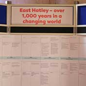 Over 1,000 years timeline from 900 to 2000 of events events which have helped to shape East Hatley. It's on display in St Denis' church – 14-9-19.