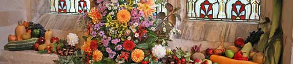Harvest Service in Hatley St George Church, 2019 – fruit and flowers: 13th October 2019.