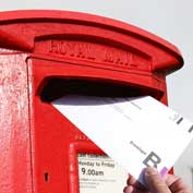 Hatley letter box with postal vote envelope.