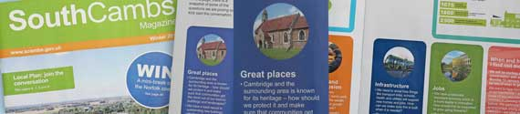 South Cambs magazine, winter 2019 – panel on great places featuring a photo of St Denis' church, East Hatley, Cambridgeshire.