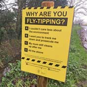 'Why are you fly tipping?' – a new SCDC sign which asks fly-tippers if their mum still cleans up after them.