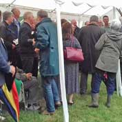 St Denis' church East Hatley, Cambridgeshire – the crowded marquee at the handover of St Denis' to the FoFC by South Cambridgeshire District Council, the previous owners of the church – 11-7-17.
