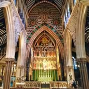 All Saints, Margaret Street, London – the interior, looking towards the magnificent altar piece at the east end and dating from 1909.