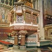 All Saints, Margaret Street, London – the pulpit, designed by William Butterfield in 1850 and characteristic of his use of colour.