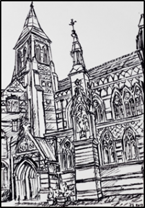 All Saints, Margaret Street, London – a sketch of the front of the church designed by William Butterfield and built in the 1850s.