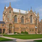 Keble College Chapel, Oxford. It was designed by William Butterfield and built between 1868 and 1882 in his classic 'holy zebra style'. Photo: Wikipedia.