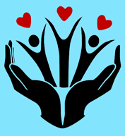 Helping hands graphic.
