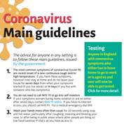 Coronavirus – main government guidelines updated on 29th April 2020.