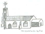 Revd William Cole's sketch of Hatley St George church, dated 18th August 1748 – it includes the chancel, which was demolished in 1966. Taken from the cover of Cambridgeshire Family History Society's 'Monumental inscriptions' of the church (1709 to 1982), published in 1987.