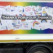 Thanks for your thanks sign on an SCDC bin lorry – with the council's very hard-working bin crews managing to empty more bins than planned, green bin collections are returning to a fortnightly routine.