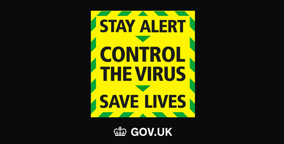 Coronavirus stay alert graphic.