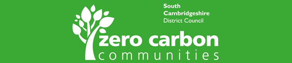 SCDC's zero carbon communities logo. The council has £100,000 of tax-payers money to spend on its zero carbon enthusiasm.