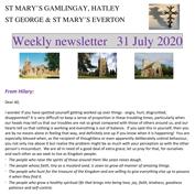 St Mary's, Gamlingay, weekly newsletter – 31st July 2020.