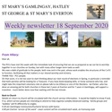 St Mary's, Gamlingay, weekly newsletter – 18th September 2020.
