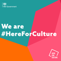 The government's #HereForCulture sticker.