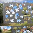 A 150 piece electronic jigsaw of St Denis' church, East Hatley, Cambridgeshire. The church belongs to The Friends of Friendless Churches.