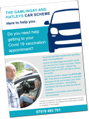 The Gamlingay and Hatleys Car Scheme – A4 poster relating to Covid-19 vaccination appointments.