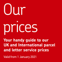 Royal Mail – Price list, updated April 2021, for UK and International postage – A4 sheet.