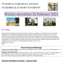 St Mary's, Gamlingay, weekly newsletter – 26th February 2021.