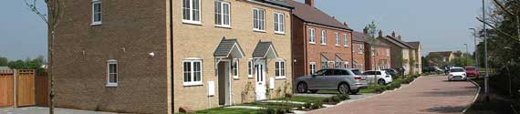 Photograph of new houses in Swavesey to illustrate the survey by Anthony Browne MP about house building in South Cambridgeshire, February 2021.