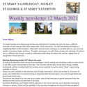 St Mary's, Gamlingay, weekly newsletter – 12th March 2021.